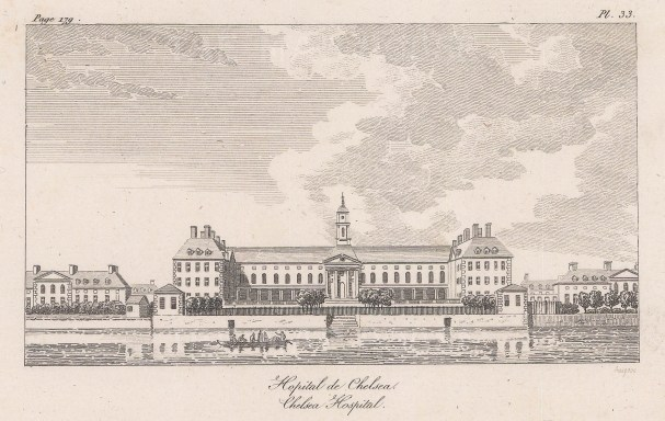 Chelsea Hospital from the Thames. Baugean's views were transferred to patterns by Wedgewood.