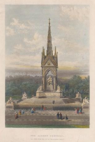 "Anonymous: Albert Memorial. c1875. A hand coloured original antique steel engraving. 7"" x 12"". [LDNp10064]"