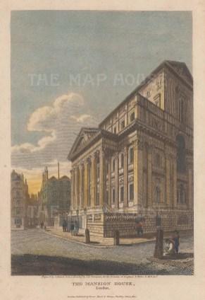 "Vernor: Mansion House. 1810. A hand coloured original antique steel engraving. 5"" x 7"". [LDNp10076]"