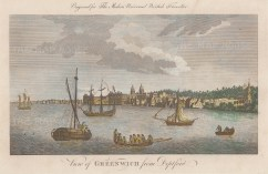 """Hogg: Greenwich from Deptford. 1779. A hand coloured original antique copper engraving. 12"""" x 8"""". [LDNp10088]"""