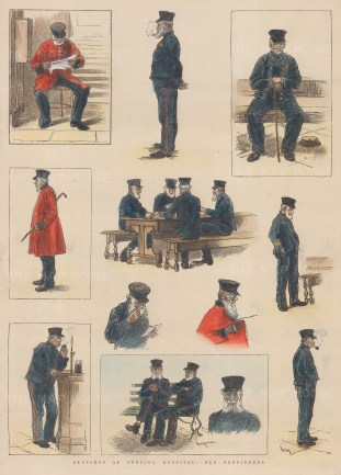 Chelsea Royal Hospital. 11 sketches of Chelsea Pensioners in both their 'undress' and 'dress' uniforms.