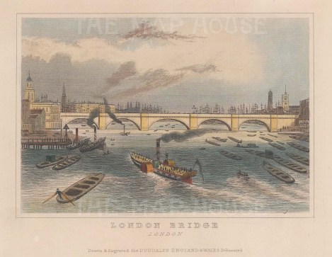 "Dugdale: London Bridge. 1829. A hand coloured original antique steel engraving. 5"" x 4"". [LDNp10141]"
