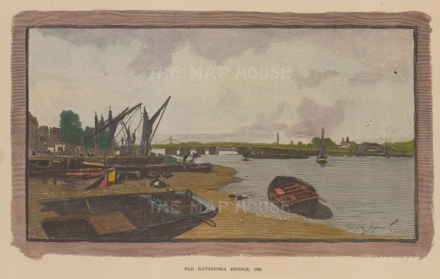 "Graphic Magazine: Old Battersea Bridge. 1890. A hand coloured original antique wood engraving. 10"" x 6"". [LDNp10213]"