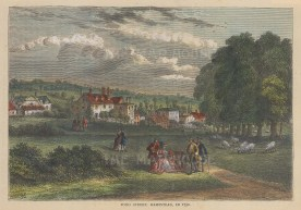 """Old & New: Hampstead. c1880. A hand coloured original antique wood engraving. 8"""" x 6"""". [LDNp10240]"""