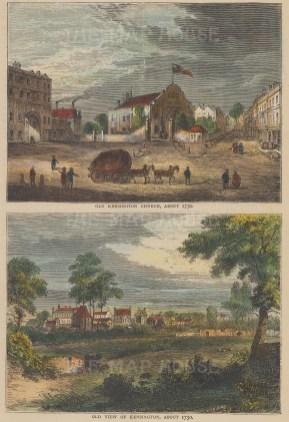 "Old & New: Kensington & Kensington Church. c1880. A hand coloured original antique wood engraving. 6"" x 8"". [LDNp10251]"