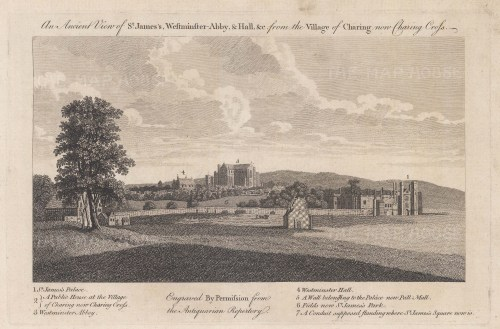 St James's and Westminster. View from the village of Charing. Based on a view by Wenceslaus Hollar, with key.