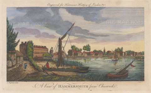 "Harrison: Hammersmith. 1775. A hand coloured original antique copper engraving. 14"" x 7"". [LDNp10356]"