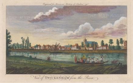 "Harrison: Twickenham. 1775. A hand coloured original antique copper engraving. 14"" x 7"". [LDNp10380]"