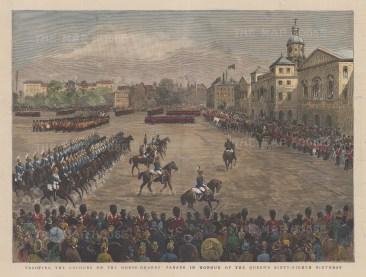 "Graphic Magazine: Horse Guards. 1857. A hand coloured original antique wood engraving. 14"" x 8"". [LDNp10411]"