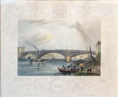 Tombleson: Southwark Bridge. 1845. A hand coloured original antique steel engraving. [LDNp10425]