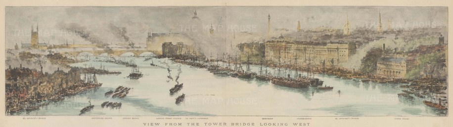 Thames View: Panoramic view from St Saviour's to Tower Wharf looking from Tower Bridge towards St Paul's. With Key