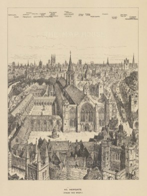 Newgate. Bird's eye from the West with key. After the Architectural artist Henry William Brewer