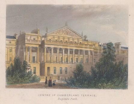 """Tallis: Cumberland Terrace, Regent's Park. 1851. A hand coloured original antique steel engraving. 4"""" x 3"""". [LDNp10518]"""