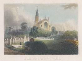 "Tallis: Highgate Church. 1851. A hand coloured original antique steel engraving. 4"" x 3"". [LDNp10630]"