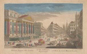 """Vue D'Optique: Mansion House. 1760. An original colour antique copper engraving. 15"""" x 10"""". [LDNp2847]"""