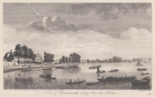 "Boydell: Hammersmith. 1752. An original antique copper engraving. 16"" x 9"". [LDNp3708]"