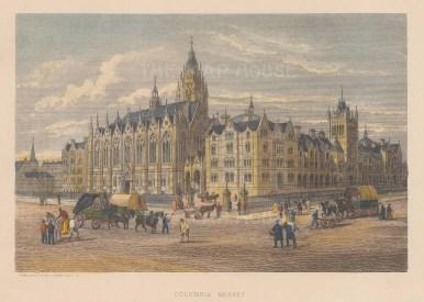 "Cassell: Columbia Market, Bethnal Green. c1883. A hand coloured original antique steel engraving. 8"" x 5"". [LDNp7799]"