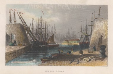 "Tallis: London Docks. c1851. A hand coloured original antique steel engraving. 6"" x 4"". [LDNp7817]"