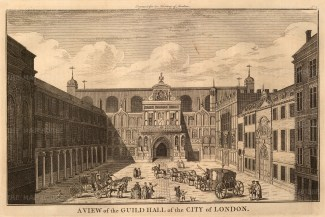 """Stow: Guildhall. c1754. An original antique copper engraving. 13"""" x 10"""". [LDNp8167]"""