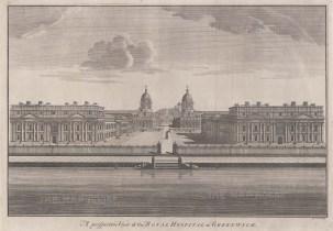 "Stow: Greenwich Hospital. 1755. An original antique copper engraving. 21""x 14"". [LDNp8425]"