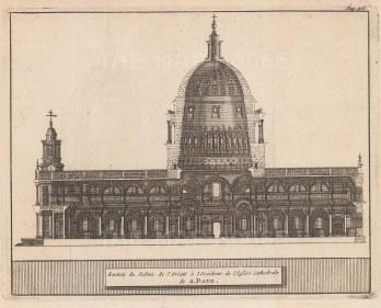 "van der Aa: St Paul's Cathedral. 1727. An original antique copper engraving. 7"" x 5"". [LDNp8569]"