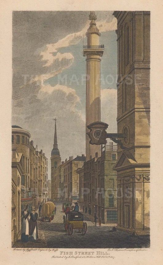 Monument. Fish Street Hill. View of the thoroughfare before the construction of King William Street in 1829-30.
