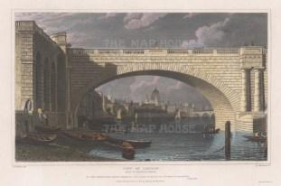 City of London looking under the arch of Waterloo bridge towards St. Paul's.