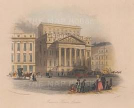 "Harwood: Mansion House. 1841. A hand coloured original antique steel engraving. 7""x 5"". [LDNp8839]"