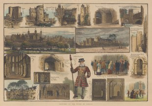 """Illustrated London News: Tower of London. 1883. A hand coloured original antique wood engraving. 20"""" x 14"""". [LDNp8975]"""