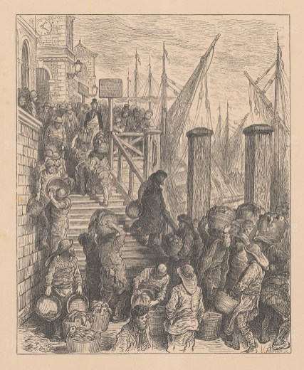 Billingsgate Market. Loading the Fish. From the famous French artist's four year pilgrimage through London.