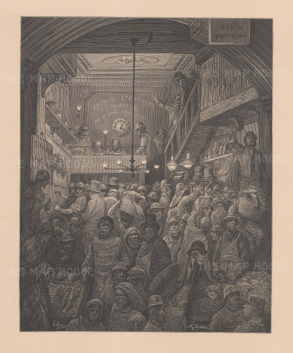 Billingsgate Market. Opening of the market from the famous French artist's four year pilgrimage through London.