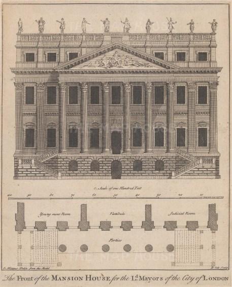 "Cole: Mansion House. 1755. An original antique copper engraving. 7"" x 9"". [LDNp9178]"
