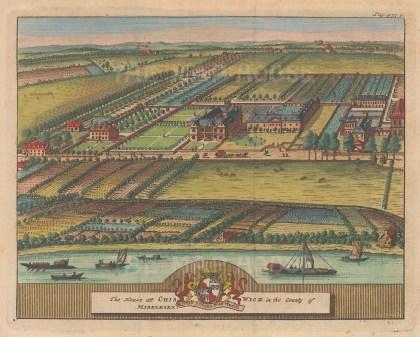"van der Aa: Chiswick House. 1727. A hand coloured original antique copper engraving. 6"" x 4"". [LDNp9182]"