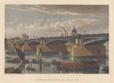 "Cassell: Blackfriars Bridge. c1883. A hand coloured original antique steel engraving. 8"" x 5"". [LDNp9254]"