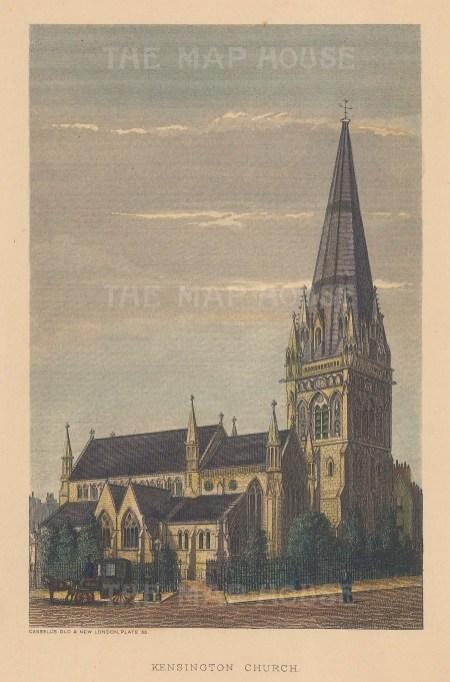 "Cassell: Kensington Church. c1880. A hand coloured original antique steel engraving. 5"" x 8"". [LDNp9297]"