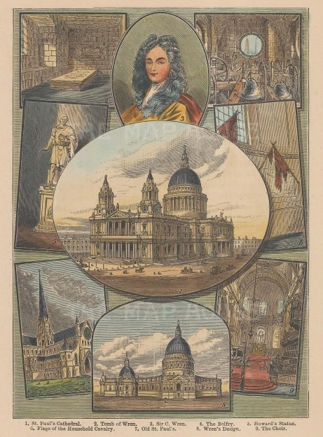Nine vignettes including a portrait of Sir Christopher Wren.