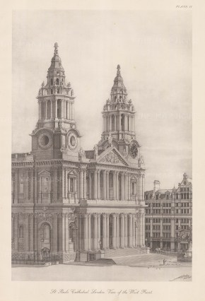 """Poley: St Paul's Cathedral. 1925. An original vintage lithograph. 14"""" x 20"""". [LDNp9498]"""