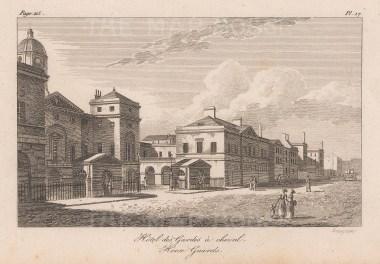 """Baugean: Horse Guards. 1814. An original antique copper engraving. 6"""" x 4"""". [LDNp9518]"""