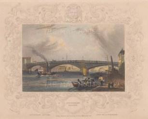"Tombleson: Southwark Bridge. 1845. A hand coloured original antique steel engraving. 8"" x 7"". [LDNp9520]"