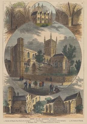 "Old & New: St Saviour's Church. c1880. A hand coloured original antique wood engraving. 6"" x 8"". [LDNp9572]"