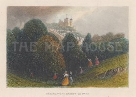"""Tallis: The Royal Observatory, Greenwich Park. 1851. A hand coloured original antique steel engraving. 4"""" x 3"""". [LDNp9604]"""