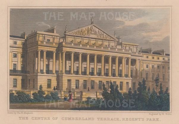 "Shepherd: Cumberland Terrace, Regent's Park. 1829. A hand coloured original antique steel engraving. 7"" x 5"". [LDNp9631]"
