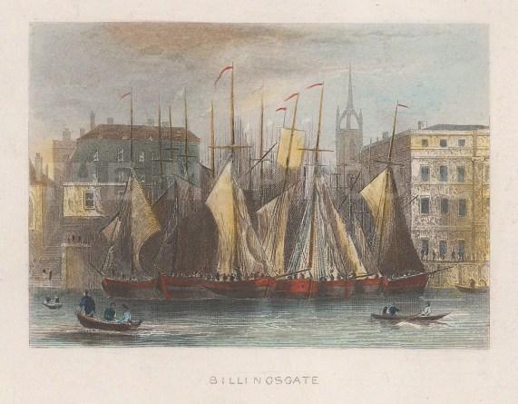 "Tallis: Billingsgate. 1851. A hand coloured original antique wood engraving. 4"" x 3"". [LDNp9639]"