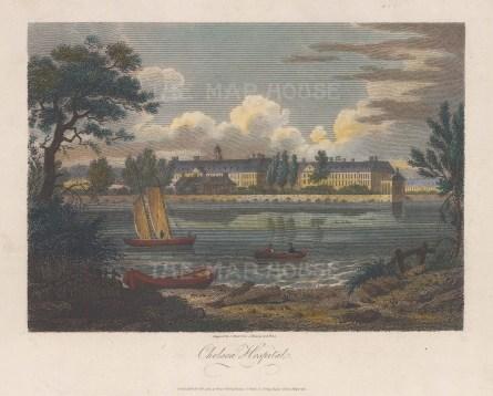"Ireland: Chelsea Royal Hospital. 1805. A hand coloured original antique copper engraving. 7"" x 5"". [LDNp9810]"