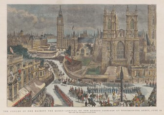 Panoramic view of Westminster Abbey and Big Ben with St Paul's on the left distance with the Queen's Carriage, Guard and entourage arriving.