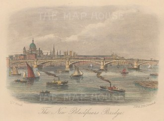 "Wood: Blackfriars Bridge. c1850. A hand coloured original antique steel engraving. 6"" x 4"". [LDNp9947]"