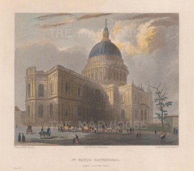 """Winkles: St Paul's Cathedral. c1836. A hand coloured original antique steel engraving. 6"""" x 5"""". [LDNp9959]"""