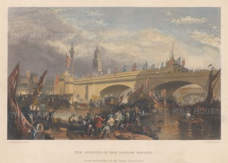 "Stanfield: London Bridge. c1850. A hand coloured original antique steel engraving. 10"" x 8"". [LDNp9962]"