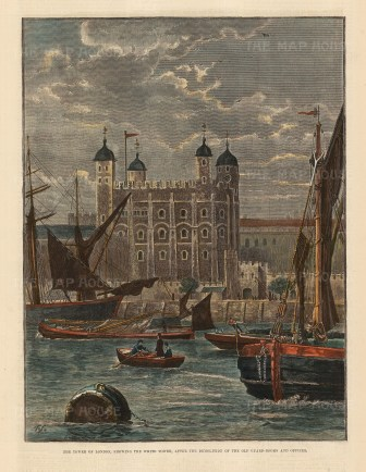 View from the river of the palace following the demolition of the Old Guards' rooms.