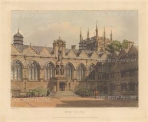 """Ackermann: Oriel College. 1814. An original colour antique aquatint. 10"""" x 9"""".[OXONp378]"""